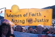 Rally on Parliament Hill demanding an end to the poverty and violence experienced by women, October 15, 2000.