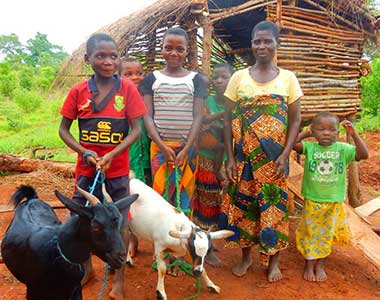 Kids in developing country standing with goats
